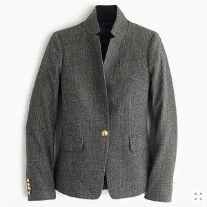 J.Crew Black plaid Regent blazer w/ satin lapel 00